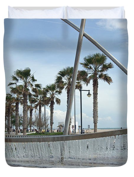 Sail Boat Fountain In Valencia Duvet Cover