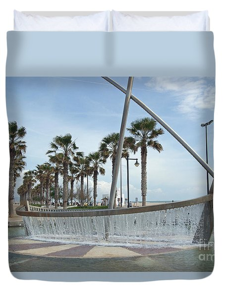 Sail Boat Fountain In Valencia Duvet Cover