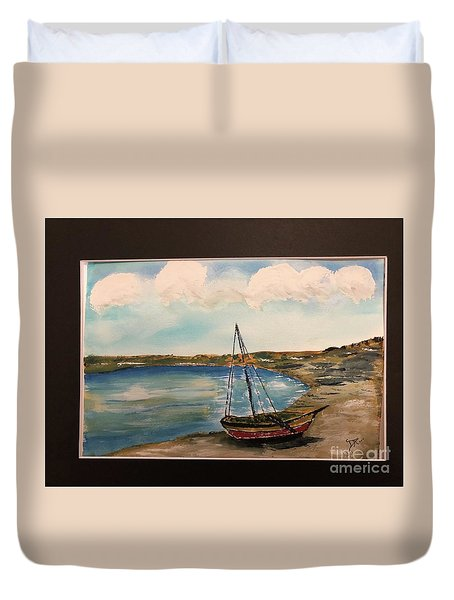 Duvet Cover featuring the painting Sail Boat On Shore by Donald Paczynski