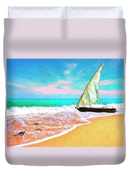 Sail Boat On The Shore Duvet Cover
