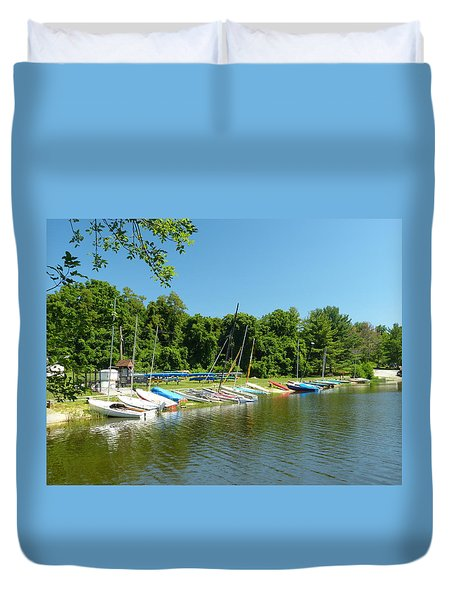 Sail Boats At Rest Duvet Cover by Donald C Morgan