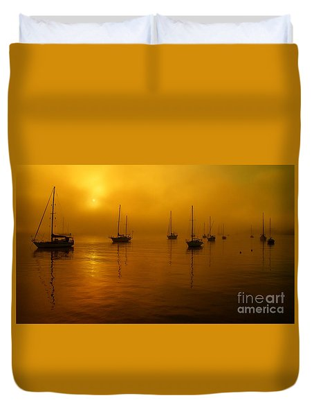 Sail Boats In Fog Duvet Cover