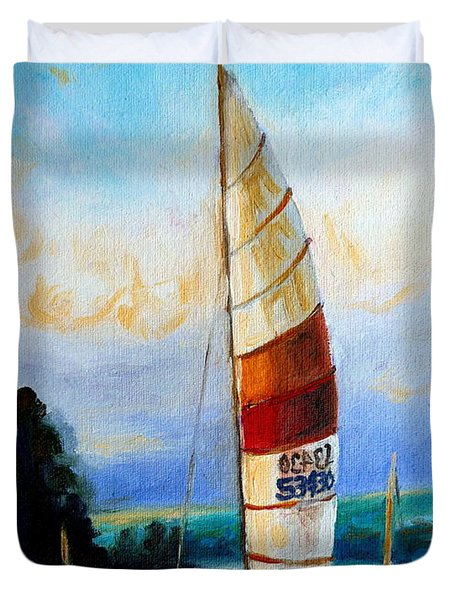 Sail Boats On The Lake Duvet Cover by Carole Spandau
