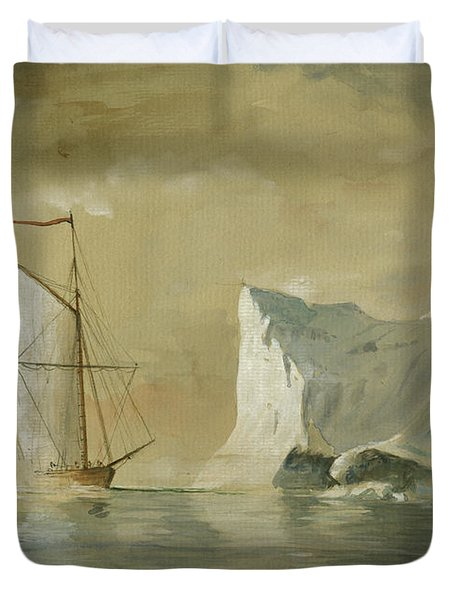 Sail Ship At The Ice Duvet Cover