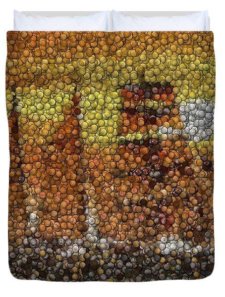 Duvet Cover featuring the mixed media Sail Ship Coins Mosaic by Paul Van Scott