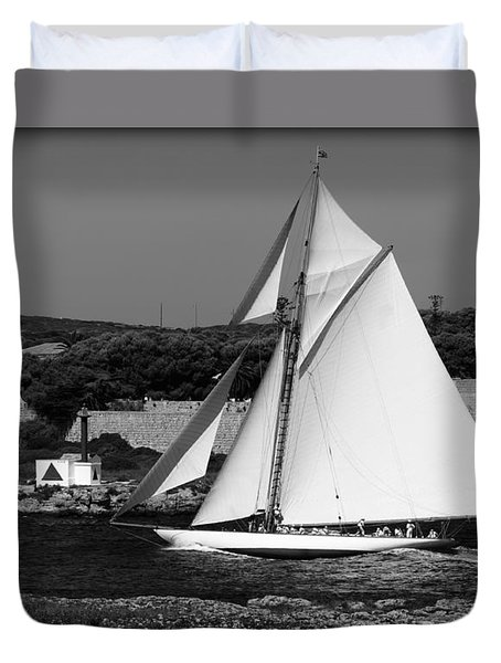 sailboat - a one mast classical vessel sailing in one of the most beautiful harbours Port Mahon Duvet Cover