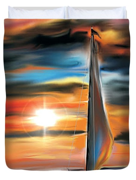 Sailboat And Sunset Duvet Cover