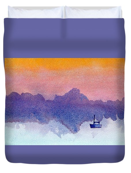 Sailboat At Dawn Duvet Cover