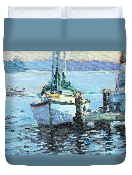 Sailboat At Rest Duvet Cover