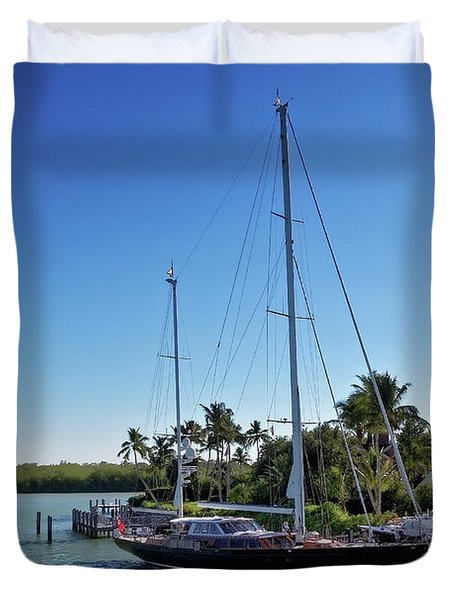 Duvet Cover featuring the photograph Sailboat At Royal Harbor by Lars Lentz