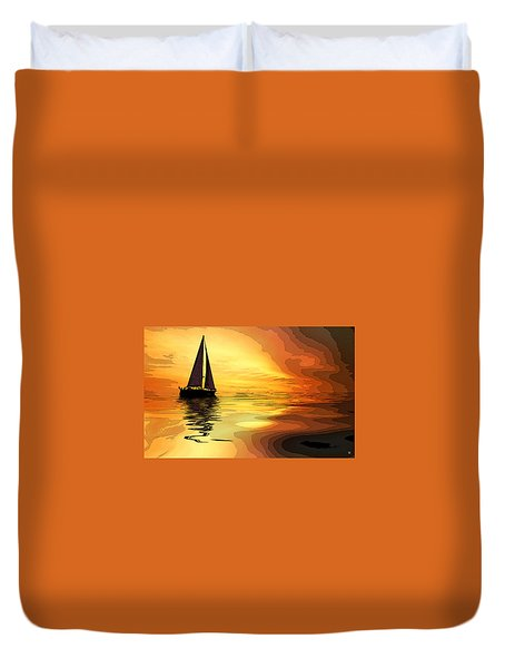 Sailboat At Sunset Duvet Cover by Charles Shoup