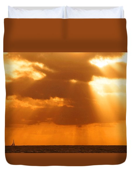 Sailboat Bathed In Hazy Rays Duvet Cover