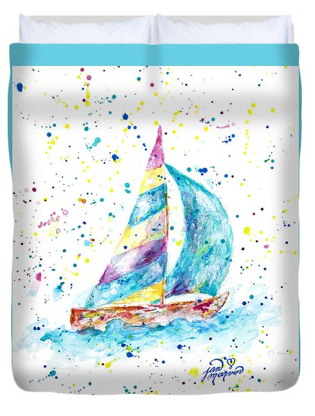 Sailboat By Jan Marvin Duvet Cover