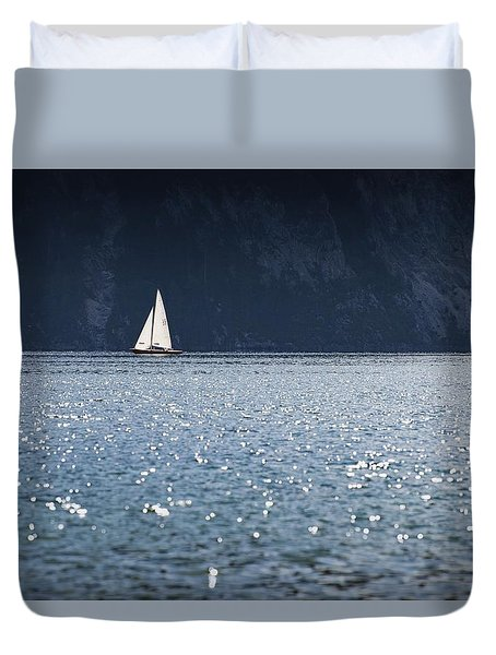 Duvet Cover featuring the photograph Sailboat by Chevy Fleet
