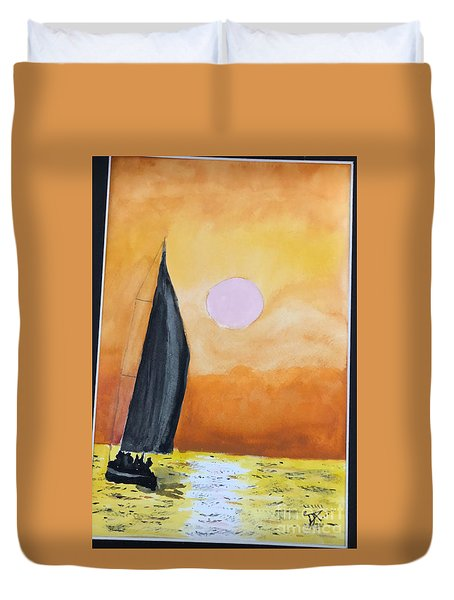 Duvet Cover featuring the painting Sailboat by Donald Paczynski
