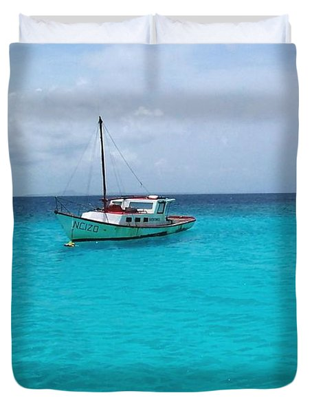 Sailboat Drifting In The Caribbean Azure Sea Duvet Cover