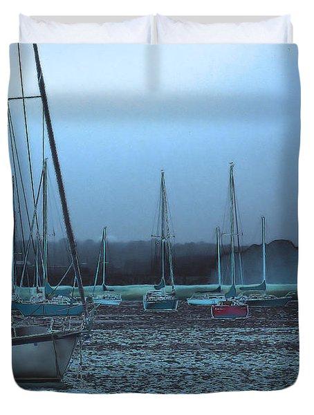Sailboat Harbor Duvet Cover by Karol Livote