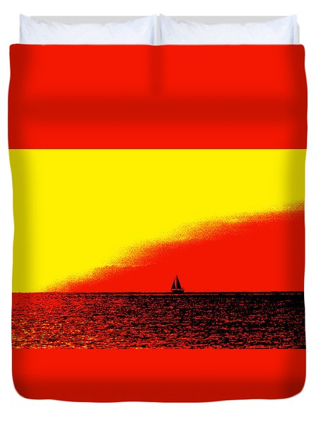 Sailboat Horizon Poster Duvet Cover