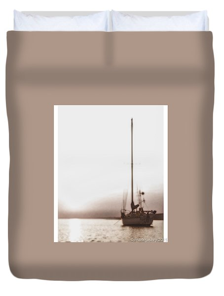 Sailboat In Fog Duvet Cover