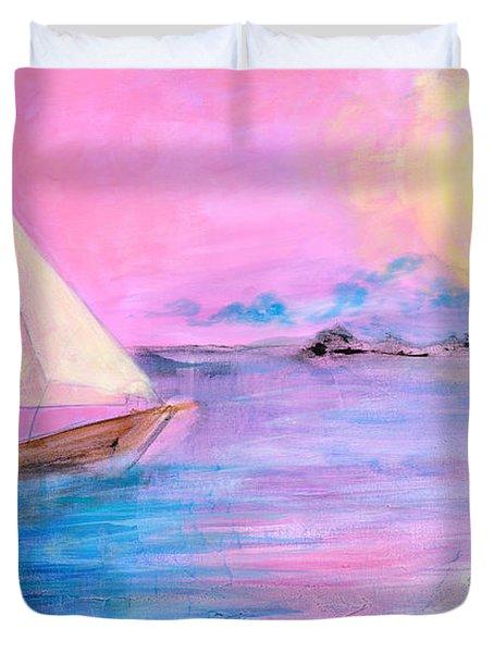 Sailboat In Pink Moonlight  Duvet Cover