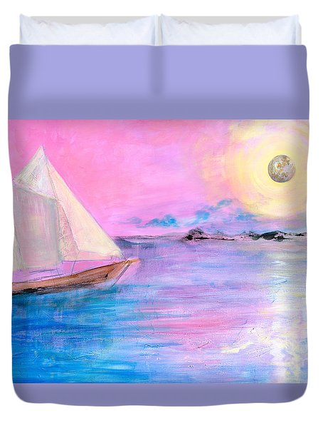 Sailboat In Pink Moonlight  Duvet Cover