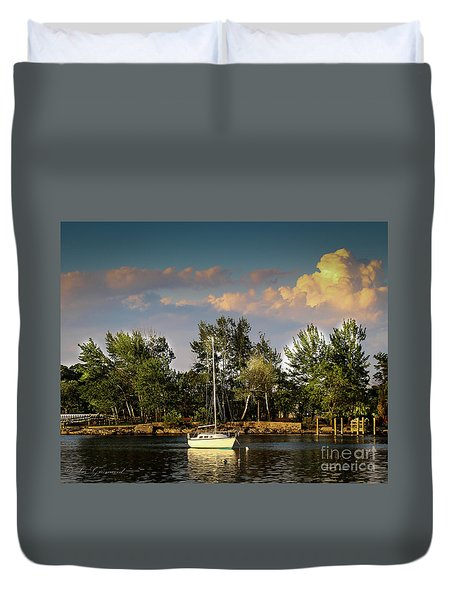 Sailboat In The Bay Duvet Cover