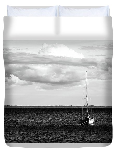 Duvet Cover featuring the photograph Sailboat In The Bay by Onyonet  Photo Studios