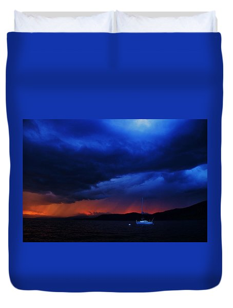 Duvet Cover featuring the photograph Sailboat In Thunderstorm by Sean Sarsfield