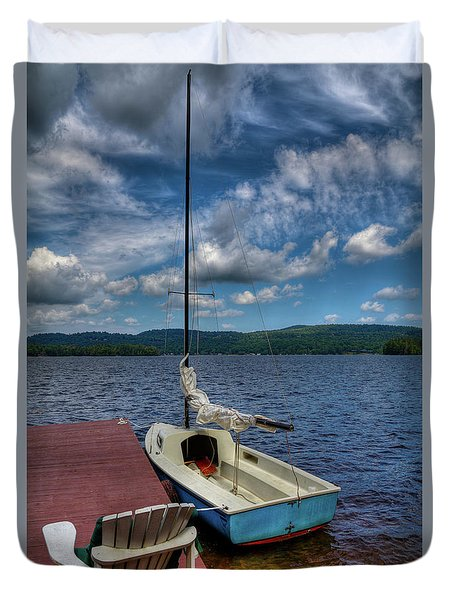 Sailboat On First Lake Duvet Cover