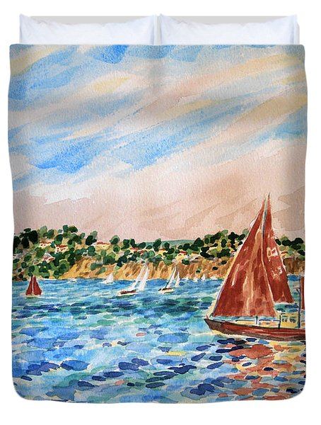 Sailboat On The Bay Duvet Cover