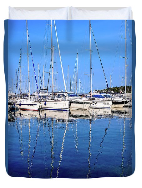 Sailboat Reflections - Rovinj, Croatia  Duvet Cover
