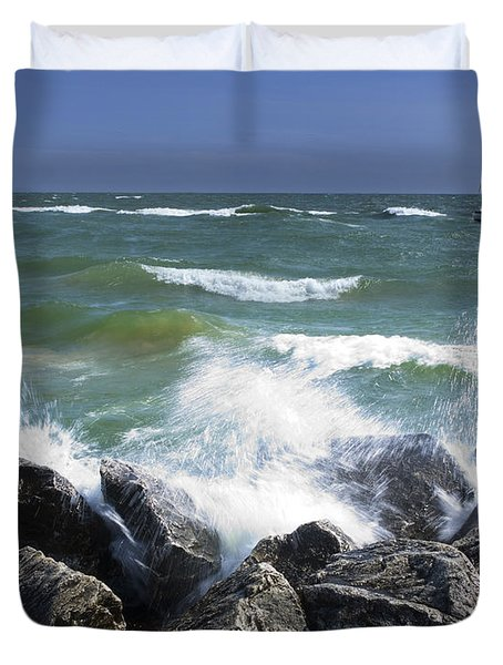 Sailboat Sailing Off The Shore At Ottawa Beach State Park Duvet Cover