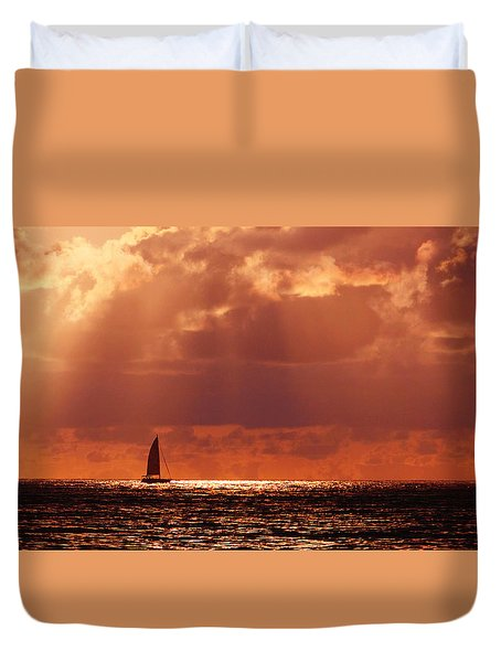 Sailboat Sun Rays Duvet Cover