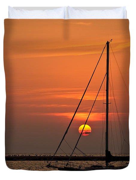 Sailboat Sunrise Chicago Duvet Cover