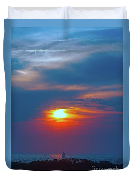 Sailboat Sunset Duvet Cover by Todd Breitling