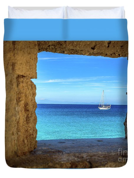 Sailboat Through The Old Stone Walls Of Rhodes, Greece Duvet Cover