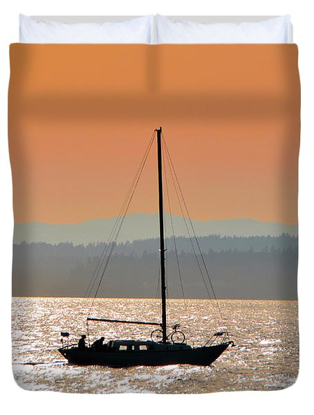Sailboat With Bike Duvet Cover
