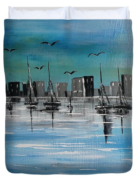 Sailboats And Cityscape Duvet Cover