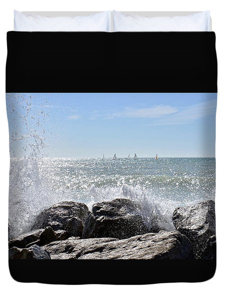 Sailboats And Surf Duvet Cover