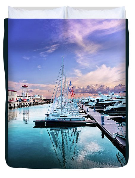 sailboats and yachts in the roads of the main sea channel of the Sochi seaport Duvet Cover