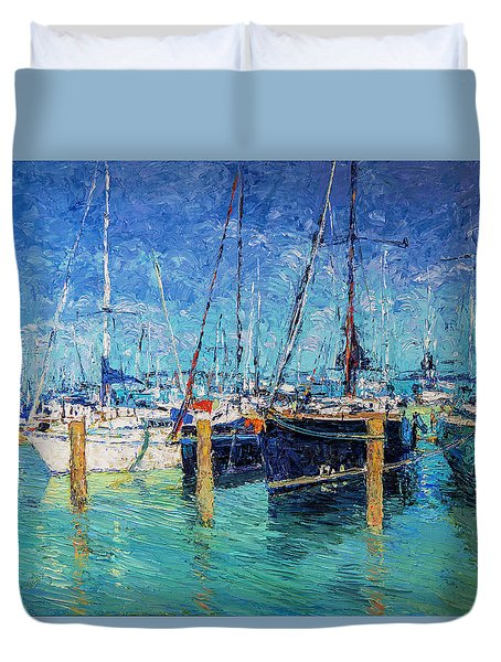 Sailboats At Balatonfured Duvet Cover