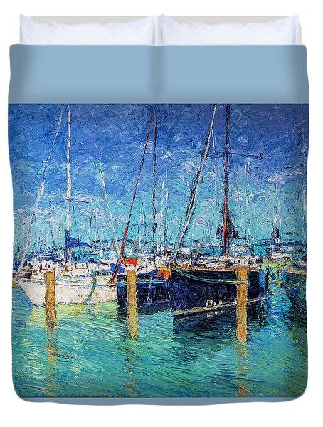 Sailboats At Balatonfured Duvet Cover