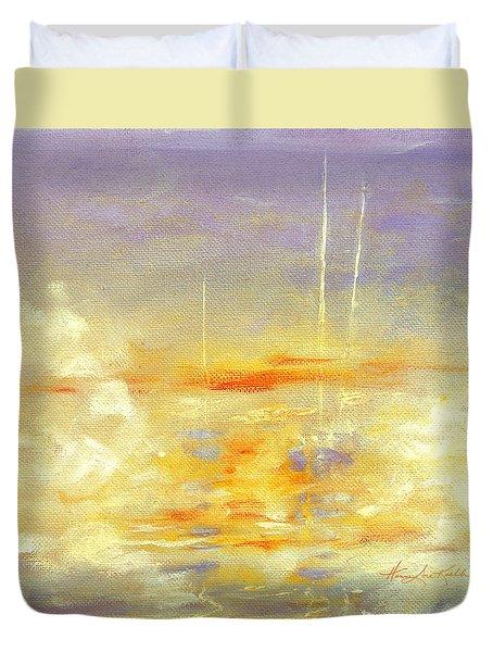 Sailboats At Dawn Duvet Cover