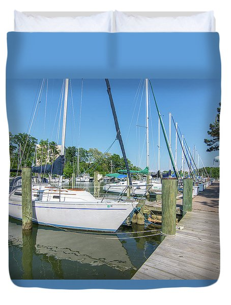 Duvet Cover featuring the photograph Sailboats At Dock by Charles Kraus