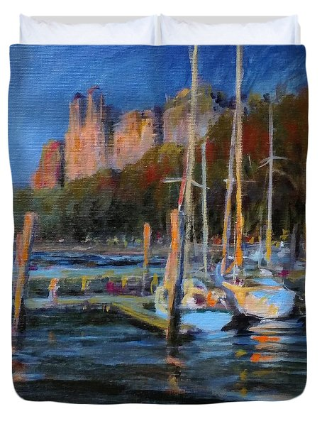 Sailboats At Dusk, Hudson River Duvet Cover