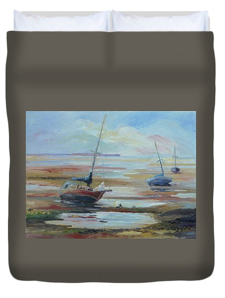 Sailboats At Low Tide Near Nelson, New Zealand Duvet Cover by Barbara Pommerenke