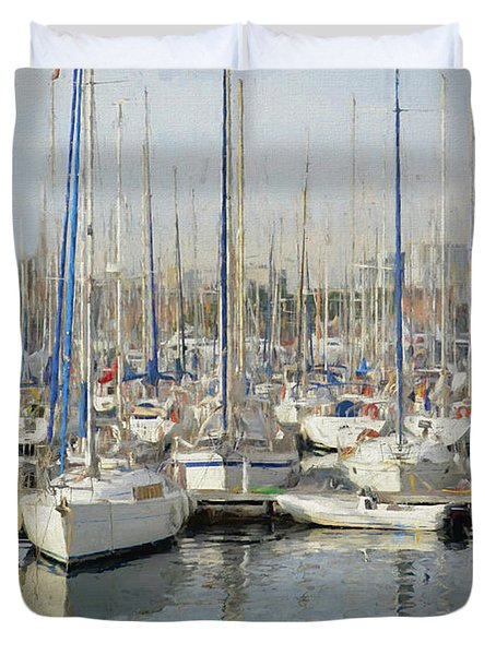 Duvet Cover featuring the painting Sailboats At The Dock - Painting by Ericamaxine Price