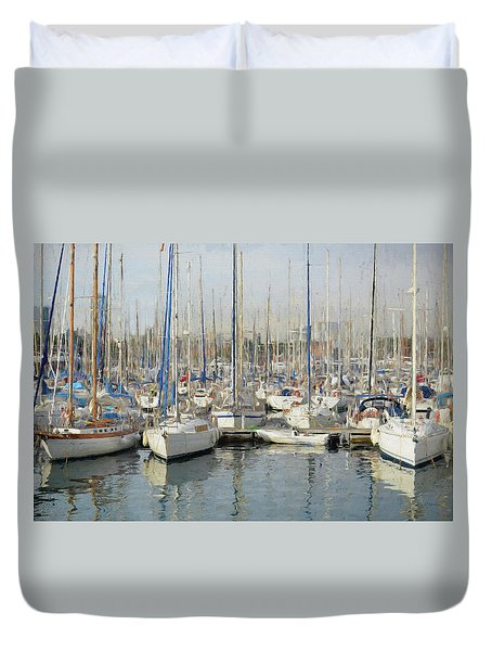 Sailboats At The Dock - Painting Duvet Cover