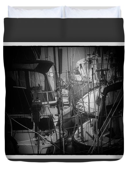 Sailboats Berthed In The Fog Duvet Cover