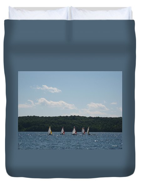 Sailboats In Eagle Harbor Duvet Cover